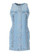 Balmain Lace-up Cotton-denim Mini Dress