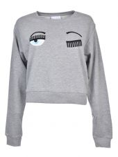 Chiara Ferragni Wink Patches Cropped Sweatshirt