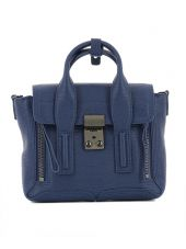 Blue Leather Handle Bag