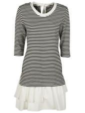 Boutique Moschino Striped Ruffle Hem Mini Dress