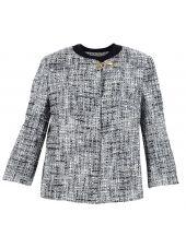 Black White Melange Cropped Jacket