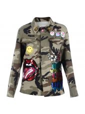 Multicolor Patches Camouflage Jacket