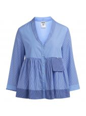 Blusa Semicouture A Righe Bianco E Blu E Tessuto Azzurro