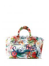 Mc2 St.barth Big Canvas Floral Beach Bag