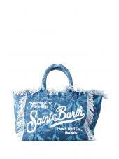 Mc2 St.barth Big Canvas Blue Beach Bag