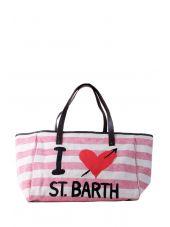 Mc2 St. Barth Helene Striped Big Canvas Beige Beach Bag