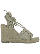 Beige Fabric Wedge Shoes