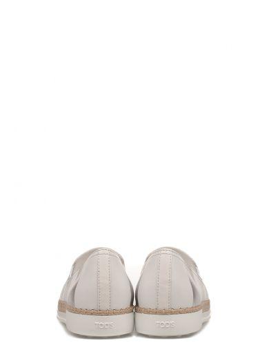 TOD'S Silver/White Rubber And Raffia Leather Slipper