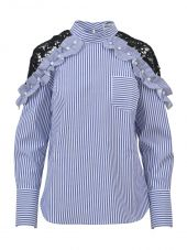 self-portrait Striped & Lace Shirt