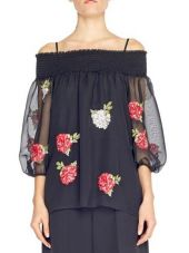 Blugirl Chiffon Blouse Rose Embroidery