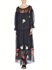 Blugirl Long Dress Chiffon Embroidery Rose