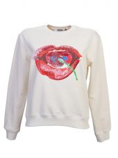 Embroidered Lips Beige Cotton Sweatshirt