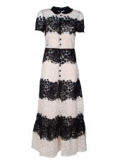 RED Valentino Short-sleeved Floral Macramé-lace Dress