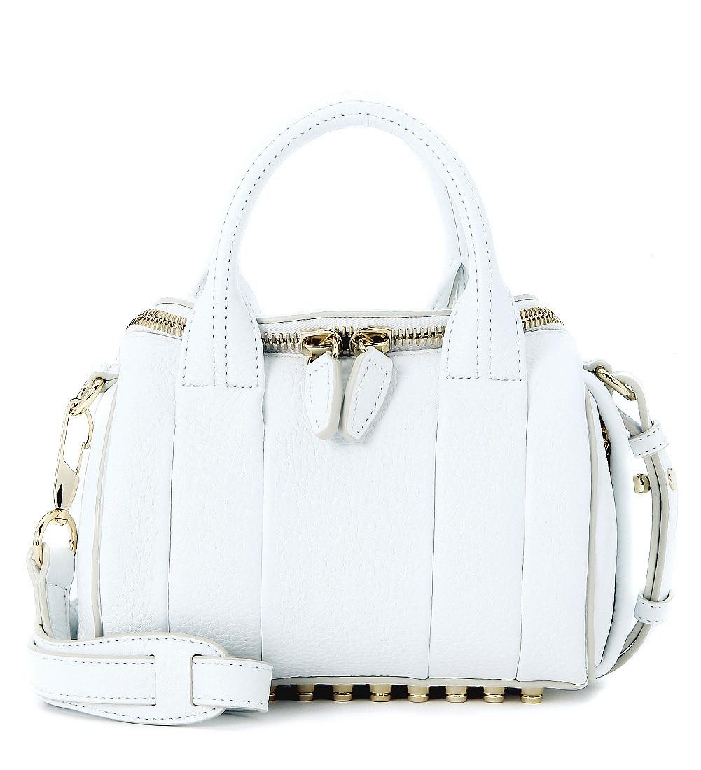 Alexander Wang Mini Rockie Bowler Bag In White Tumbled Lambskin