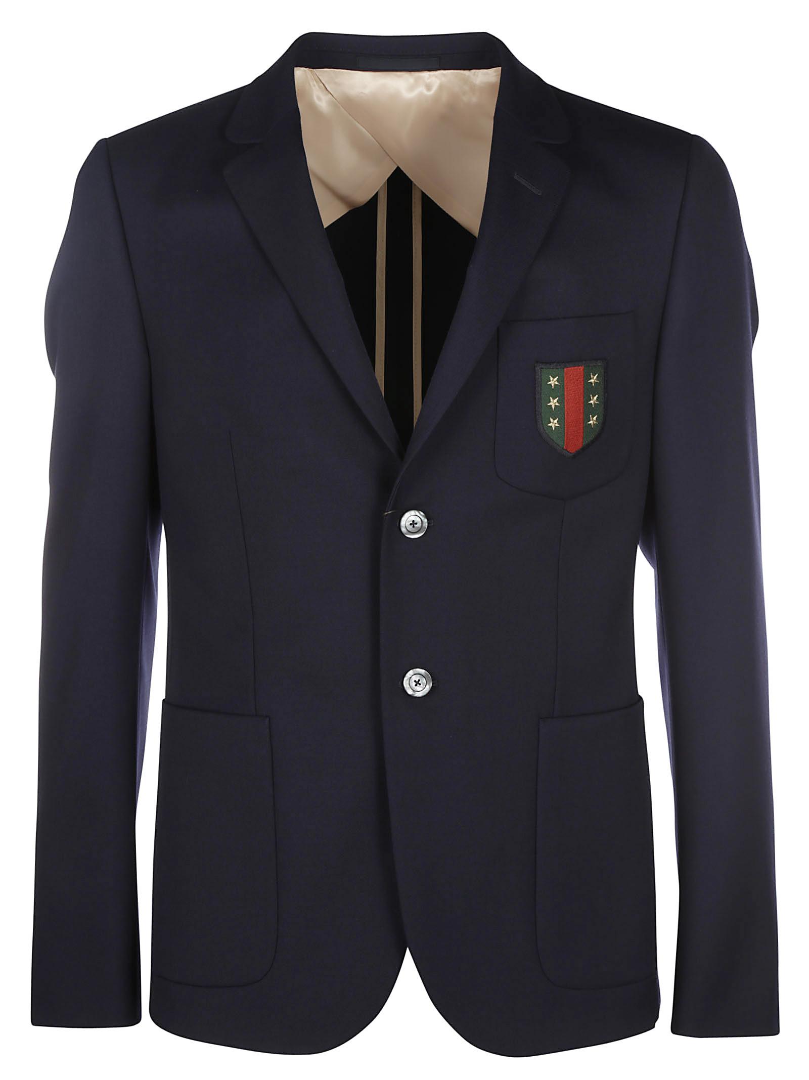 gucci male gucci abbiglia 70s stretch twill insigna blazer